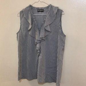 Karl Lagerfield  Pin Stripped Ruffled Shirt